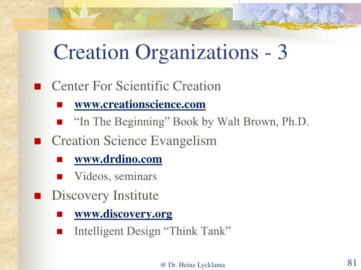 Creation Organizations - 3