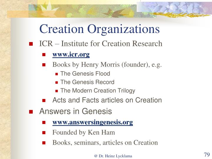 Creation Organizations