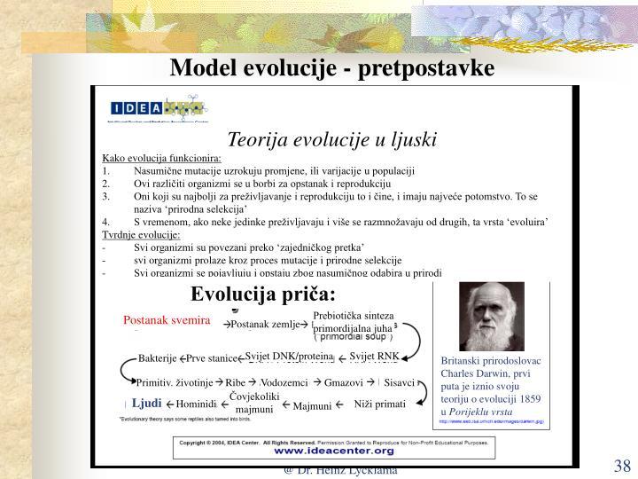 Model evolucije - pretpostavke
