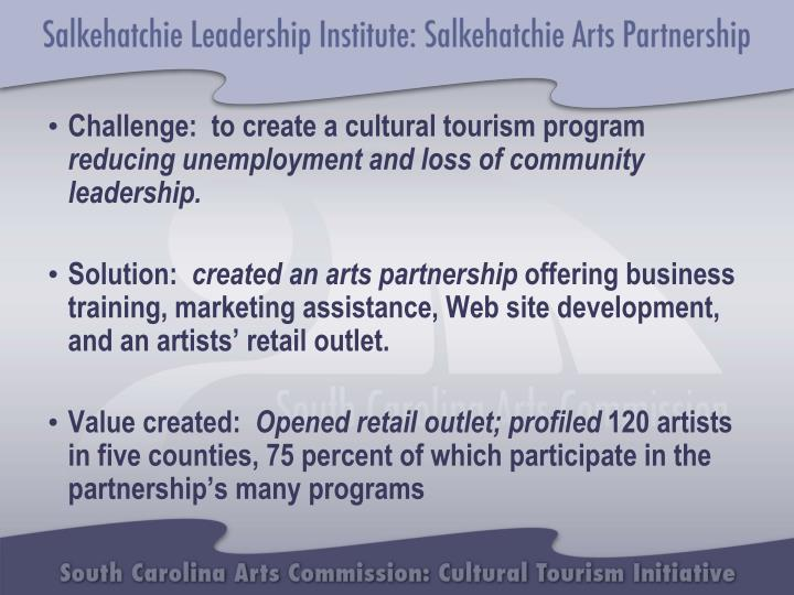 Challenge:  to create a cultural tourism program