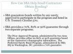 how can sba help small contractors obtain bonding