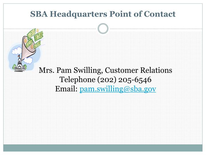 SBA Headquarters Point of Contact