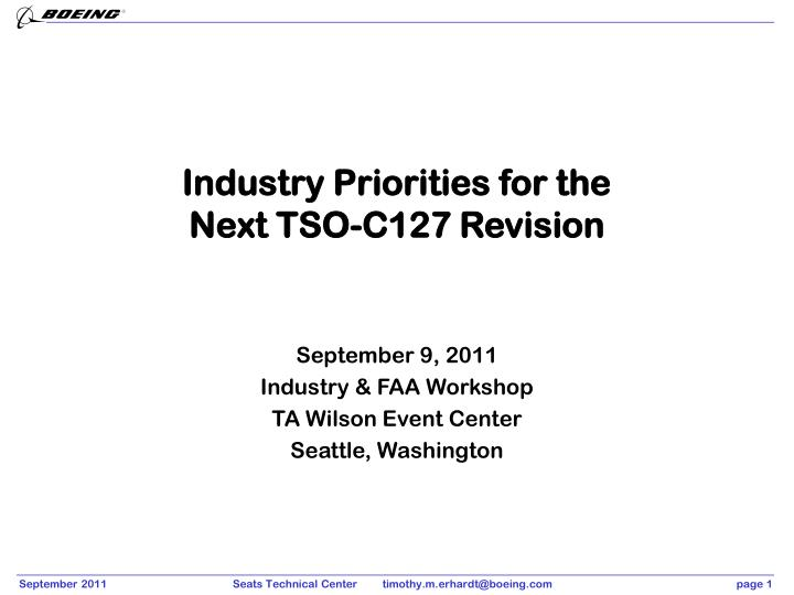 Industry Priorities for the