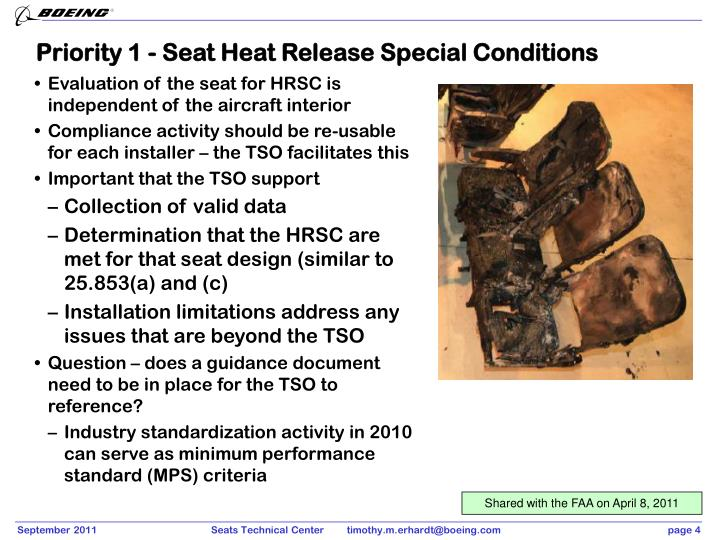 Priority 1 - Seat Heat Release Special Conditions