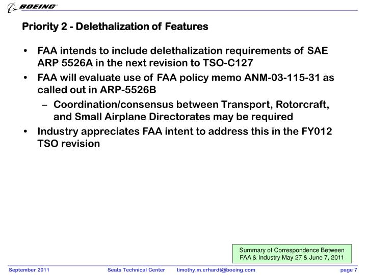 Priority 2 - Delethalization of Features
