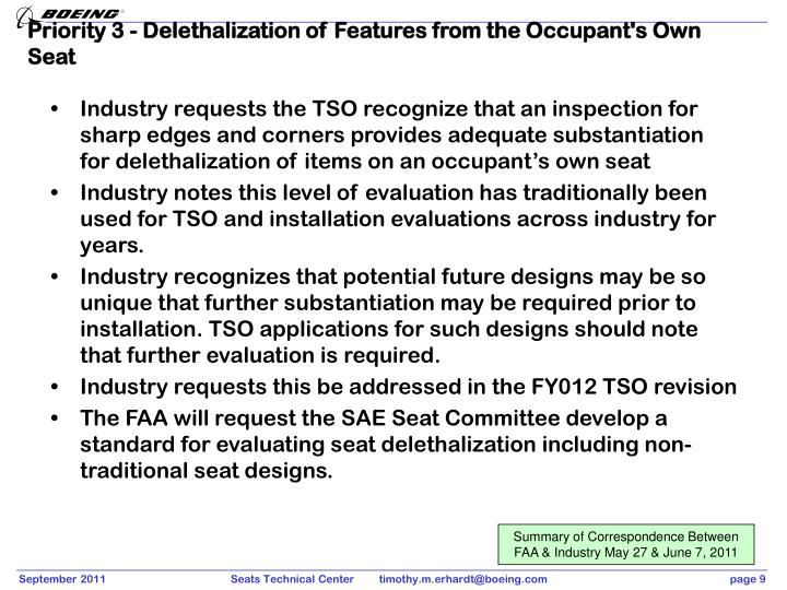 Priority 3 - Delethalization of Features from the Occupant's Own Seat