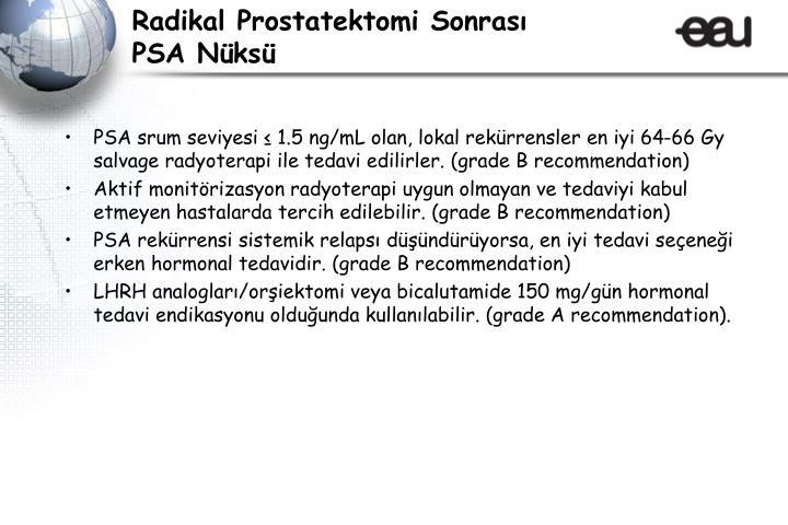 Radikal Prostatektomi Sonrası