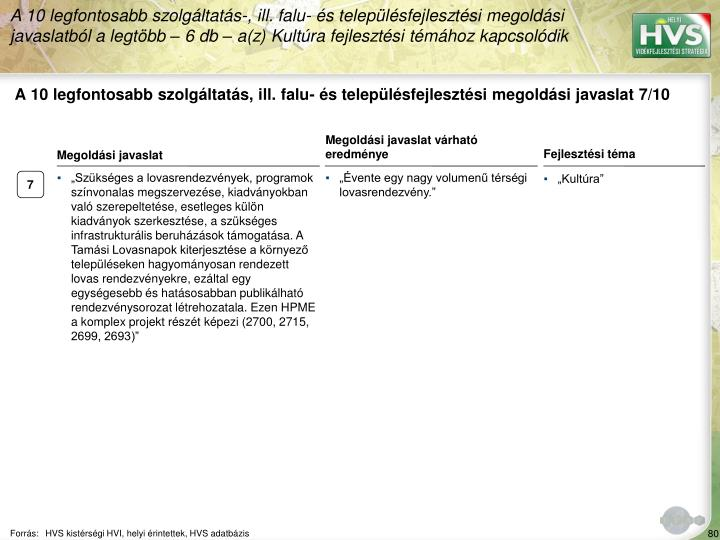 A 10 legfontosabb szolgáltatás, ill. falu- és településfejlesztési megoldási javaslat 7/10