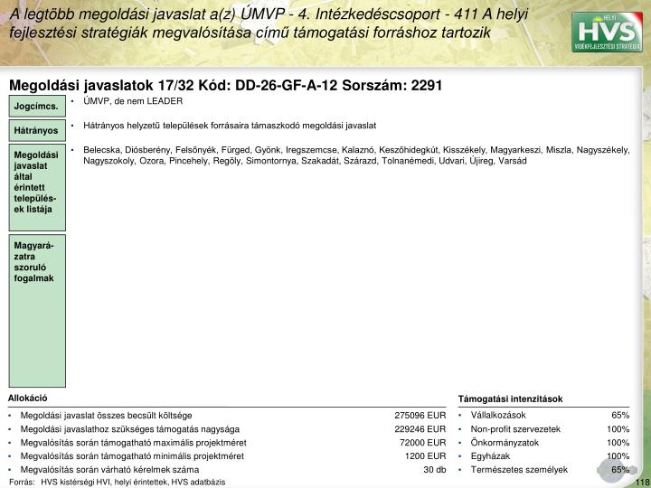 Megoldási javaslatok 17/32 Kód: DD-26-GF-A-12 Sorszám: 2291