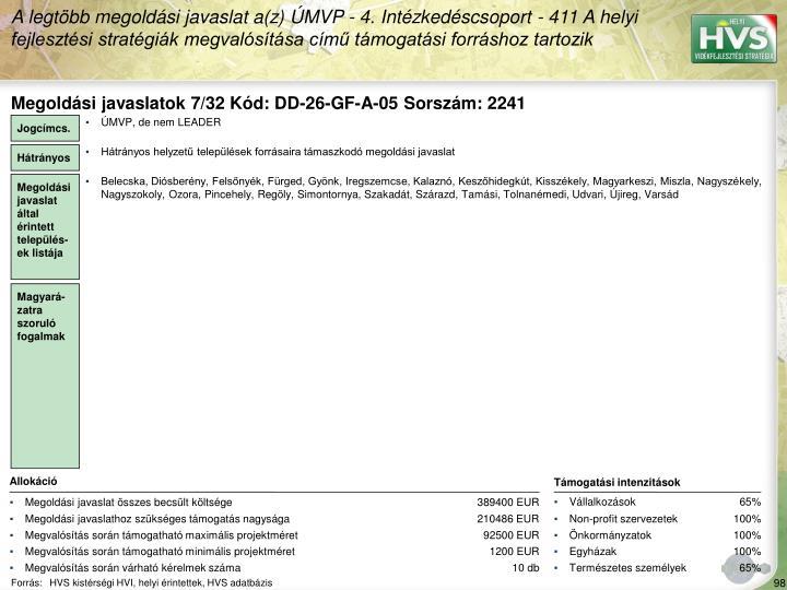 Megoldási javaslatok 7/32 Kód: DD-26-GF-A-05 Sorszám: 2241