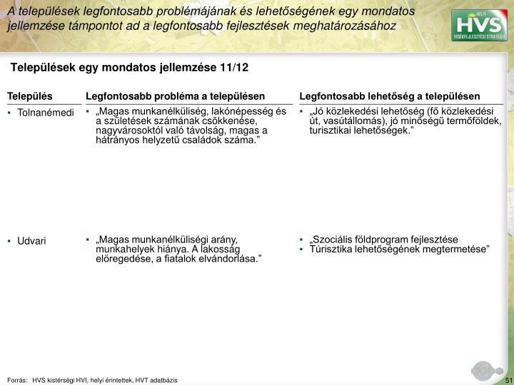 Települések egy mondatos jellemzése 11/12
