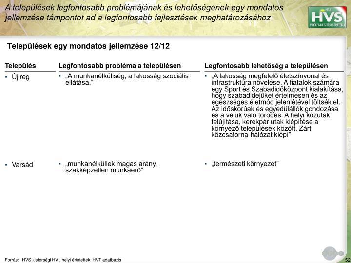 Települések egy mondatos jellemzése 12/12