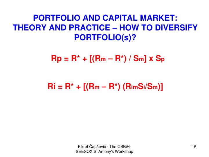 PORTFOLIO AND CAPITAL MARKET: