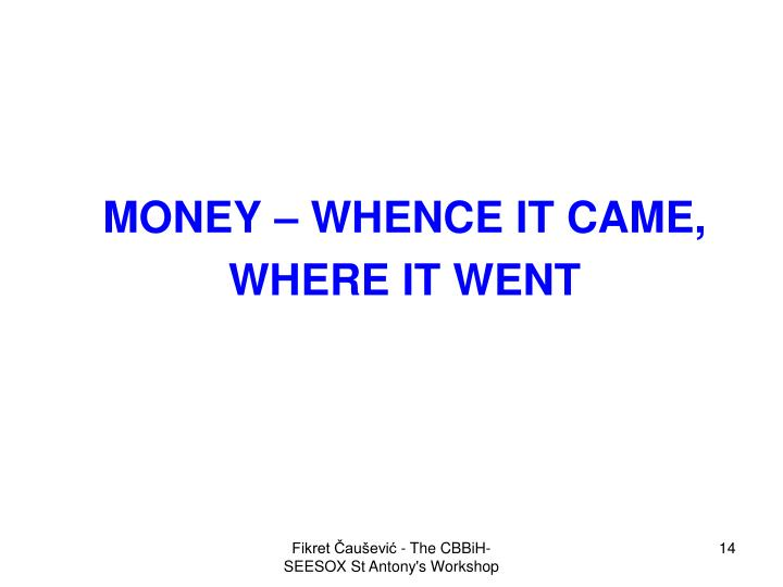 MONEY – WHENCE IT CAME,