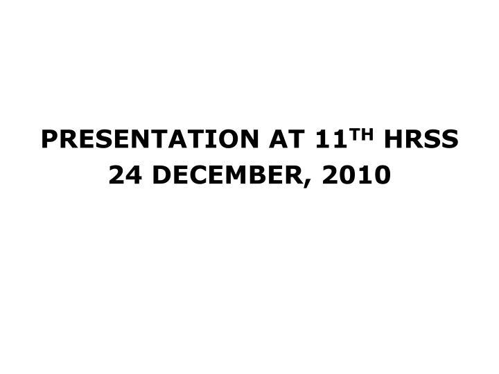 PRESENTATION AT 11