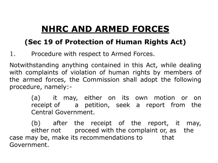 NHRC AND ARMED FORCES