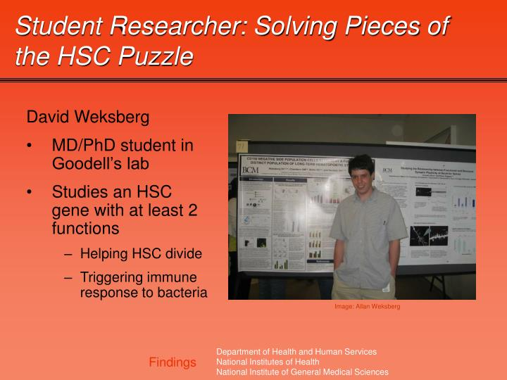 Student Researcher: Solving Pieces of the HSC Puzzle