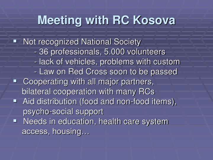 Meeting with RC Kosova