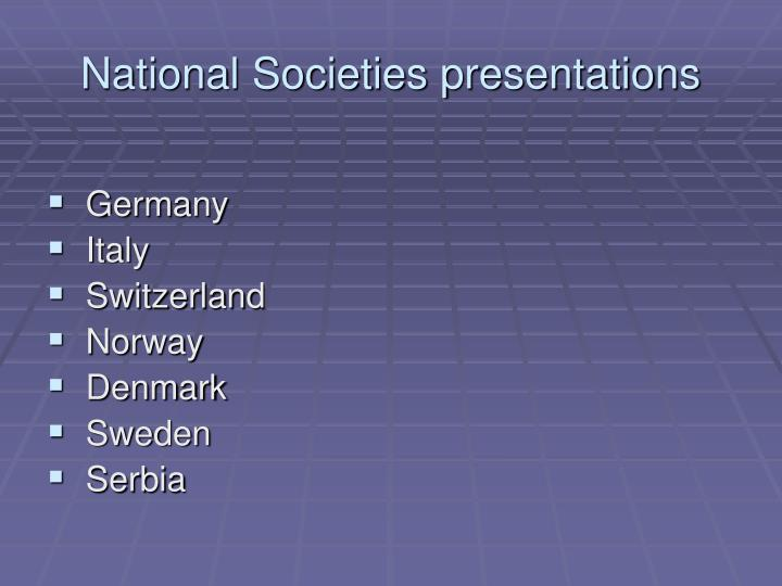 National Societies presentations