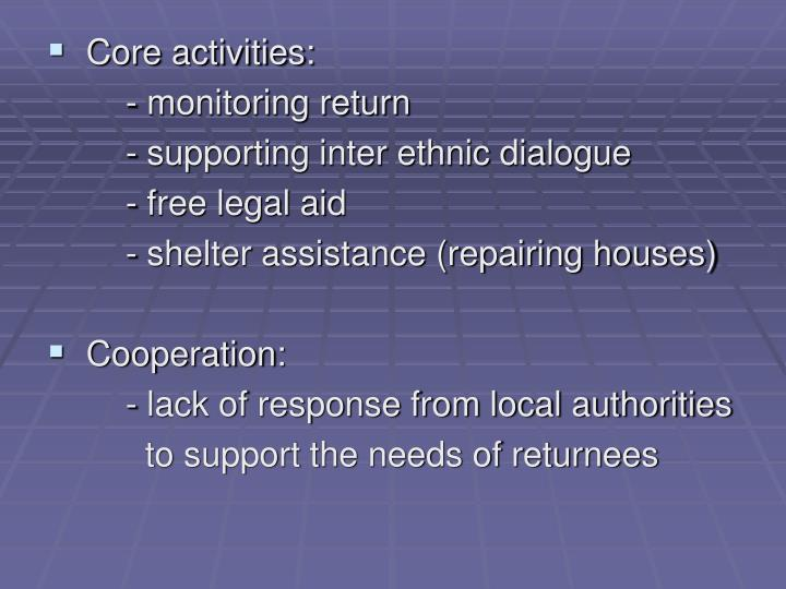 Core activities: