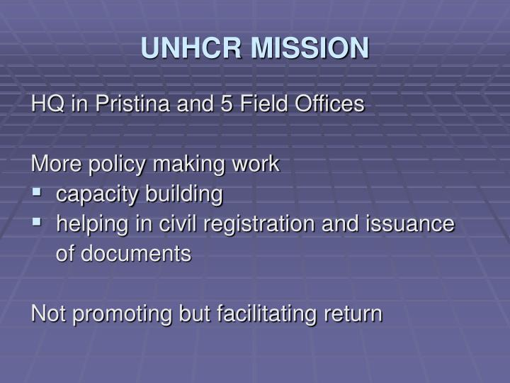UNHCR MISSION