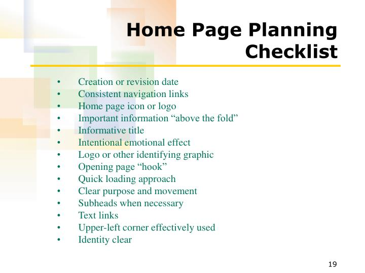 Home Page Planning Checklist