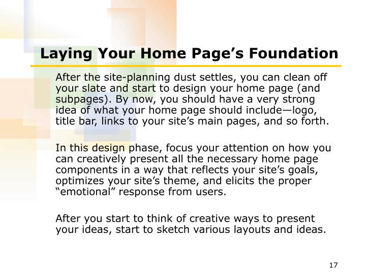 Laying Your Home Page's Foundation