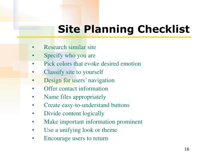 Site Planning Checklist