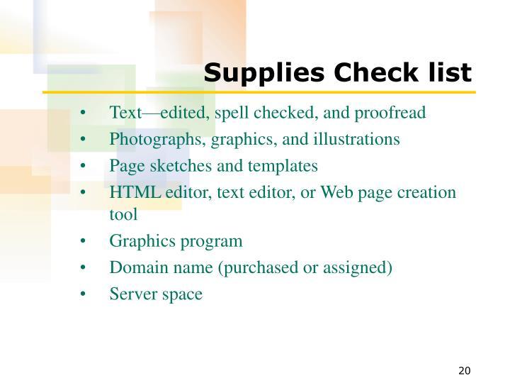 Supplies Check list