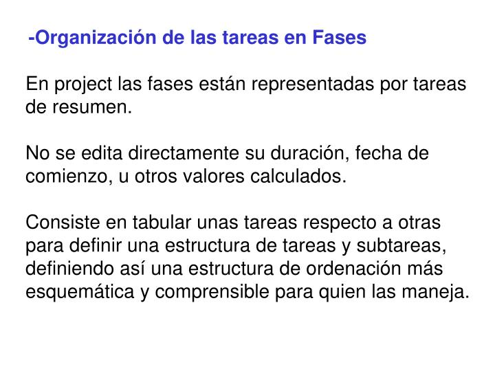 -Organización de las tareas en Fases