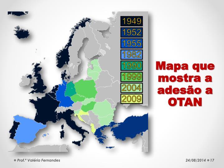 Mapa que mostra a adesão a OTAN