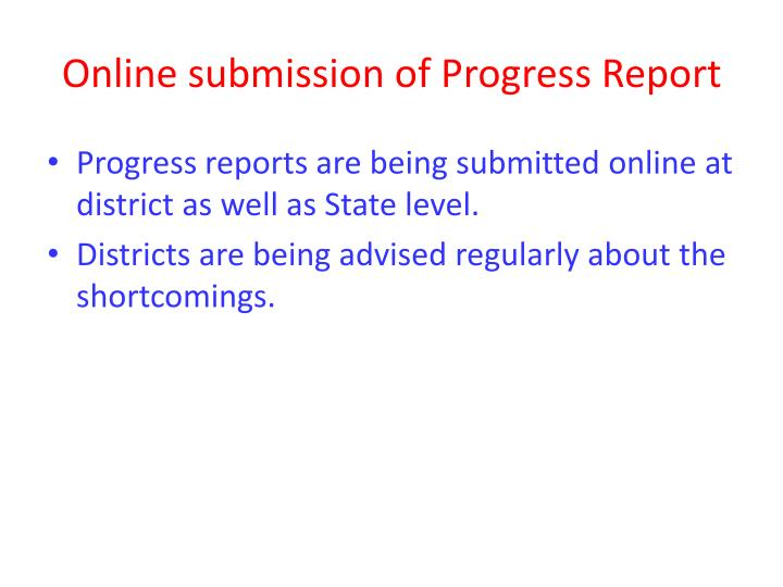 Online submission of Progress Report
