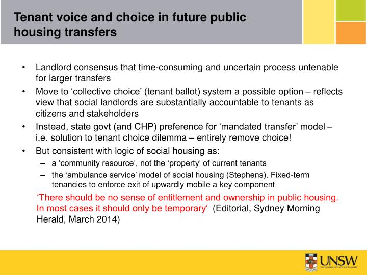 Tenant voice and choice in future public housing transfers