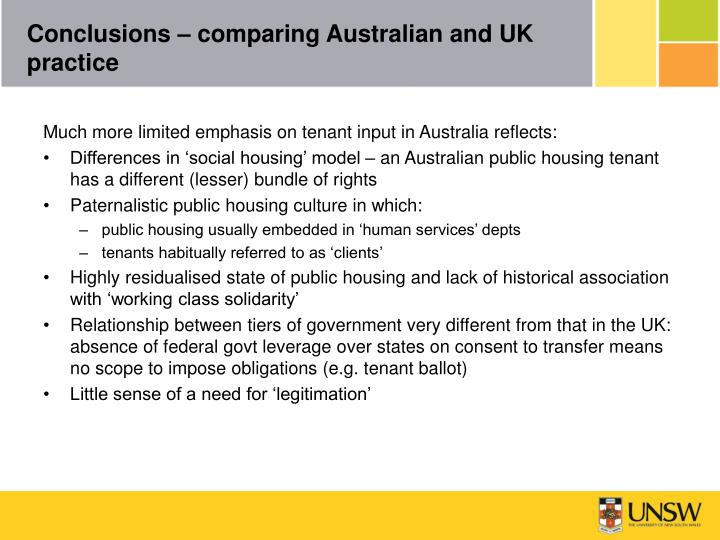 Conclusions – comparing Australian and UK practice