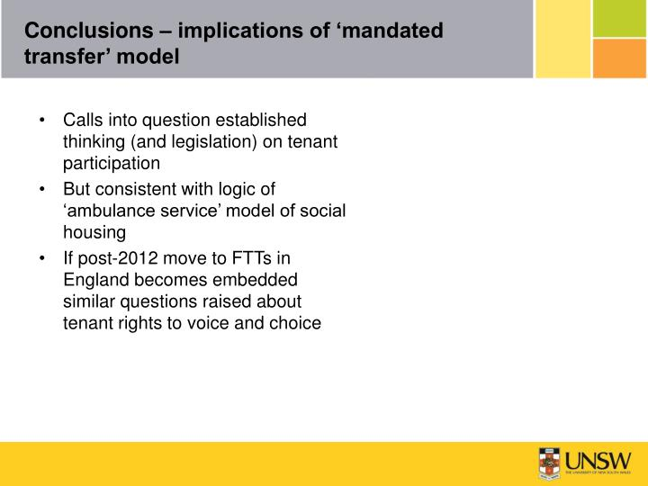 Conclusions – implications of 'mandated transfer' model