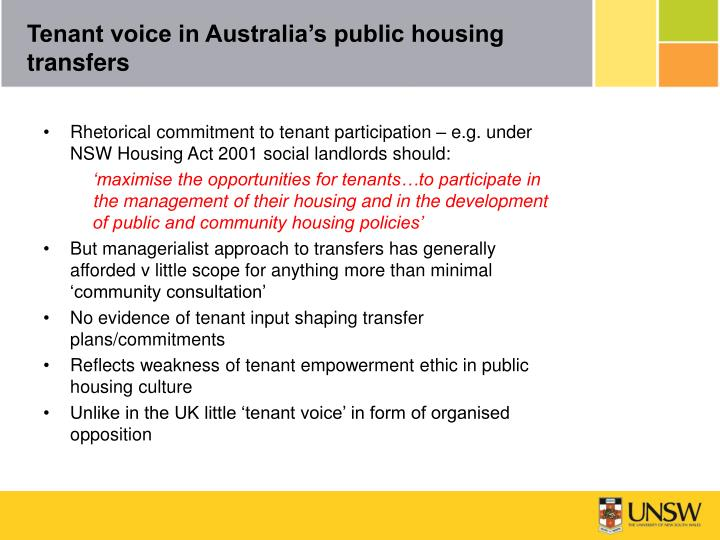 Tenant voice in Australia's public housing transfers