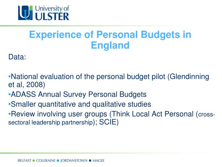 Experience of Personal Budgets in England