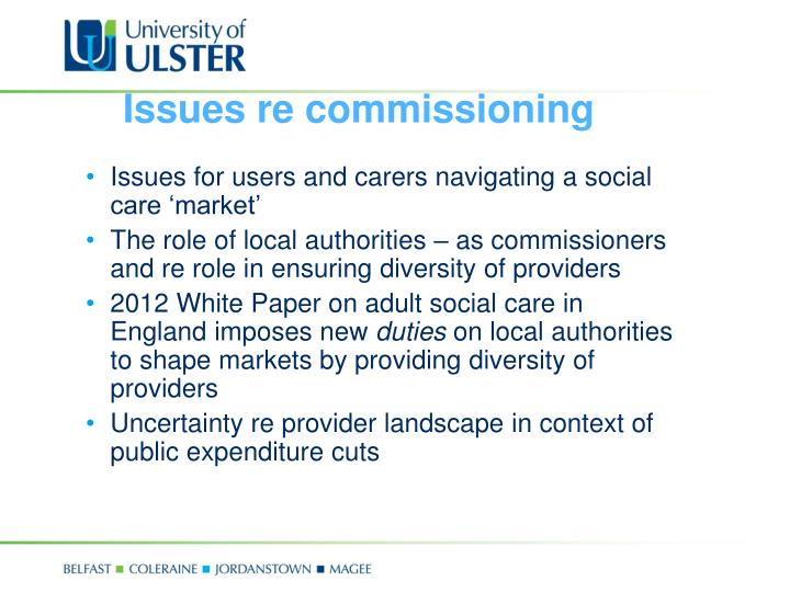 Issues re commissioning