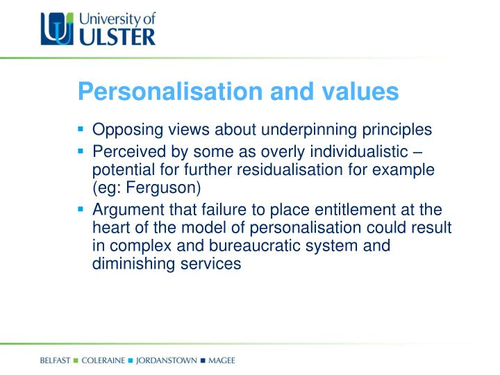 Personalisation and values