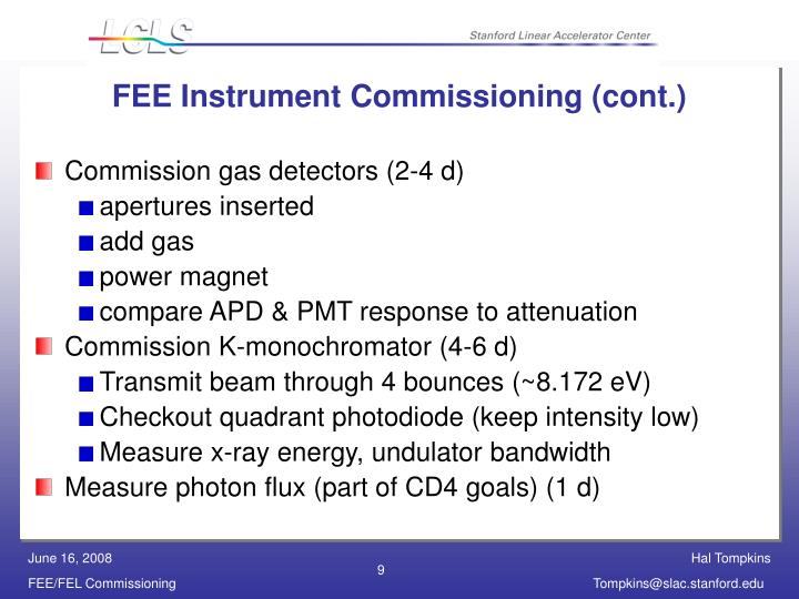 FEE Instrument Commissioning (cont.)