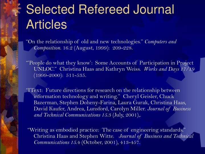 Selected Refereed Journal Articles