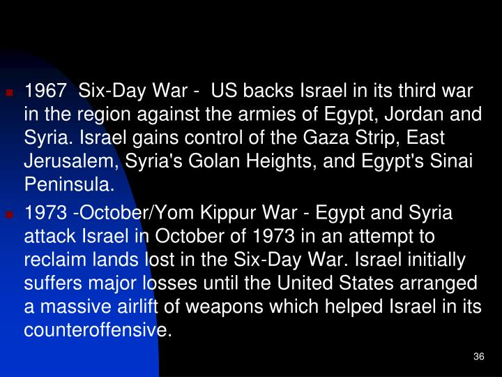 1967  Six-Day War -  US backs Israel in its third war in the region against the armies of Egypt, Jordan and Syria. Israel gains control of the Gaza Strip, East Jerusalem, Syria's Golan Heights, and Egypt's Sinai Peninsula.