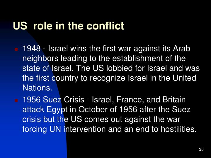 US  role in the conflict