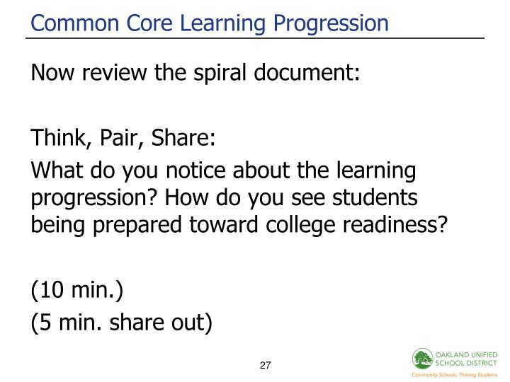 Common Core Learning Progression