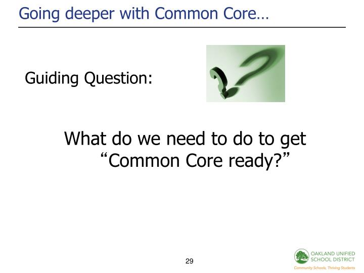 Going deeper with Common Core…