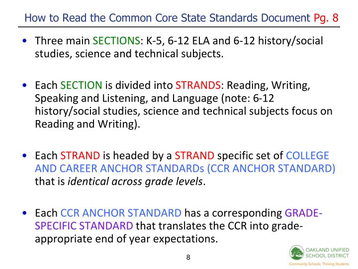 How to Read the Common Core State Standards Document