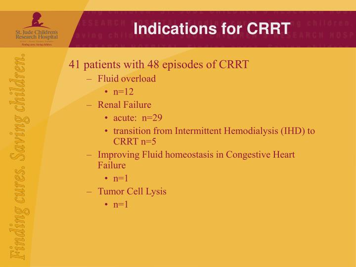 Indications for CRRT