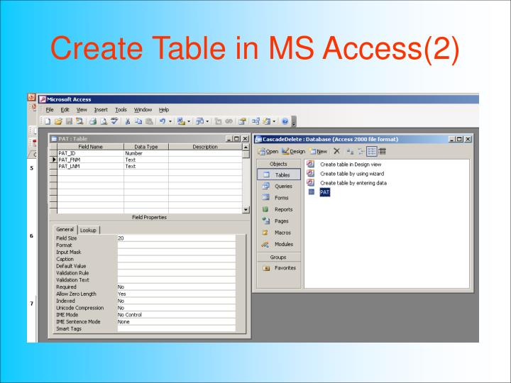 Ppt hsci 709 powerpoint presentation id 3531951 for Table design ms access