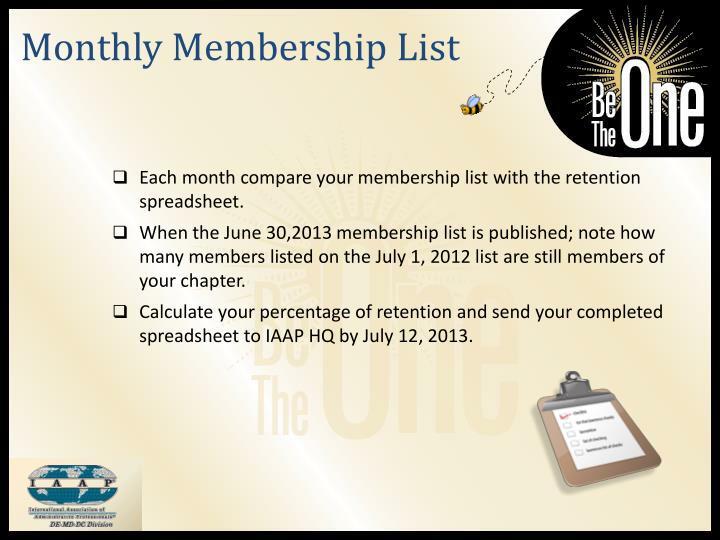 Monthly Membership List