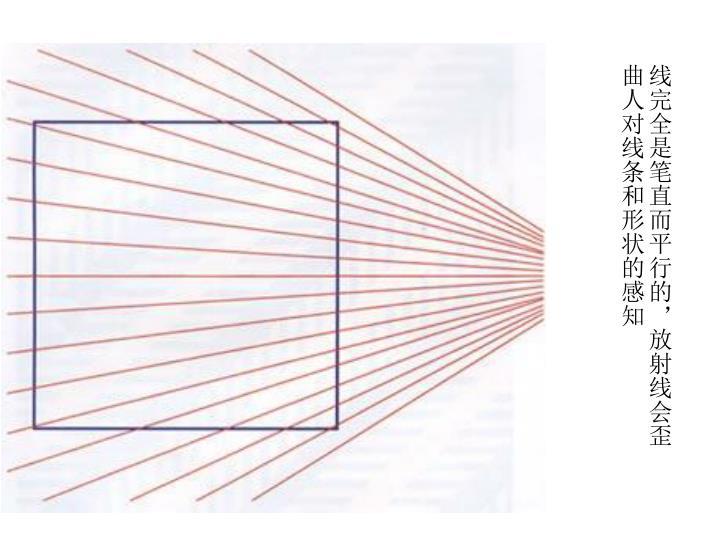 线完全是笔直而平行的,放射线会歪曲人对线条和形状的感知